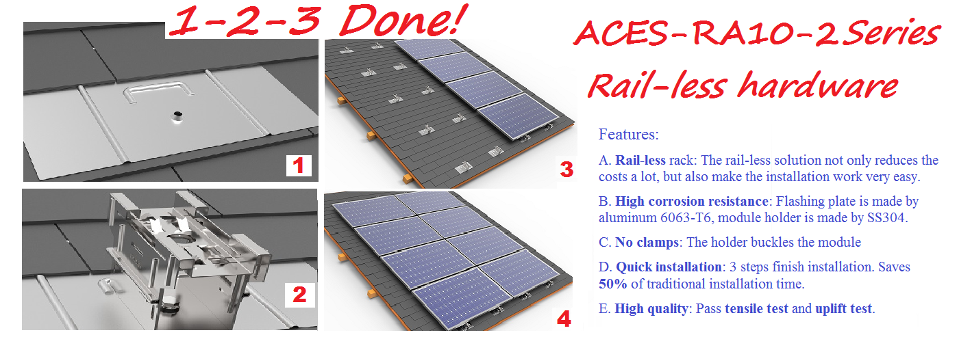 ACES-AR10-2 Railless Asphalt Shingle Roof top mounting systems