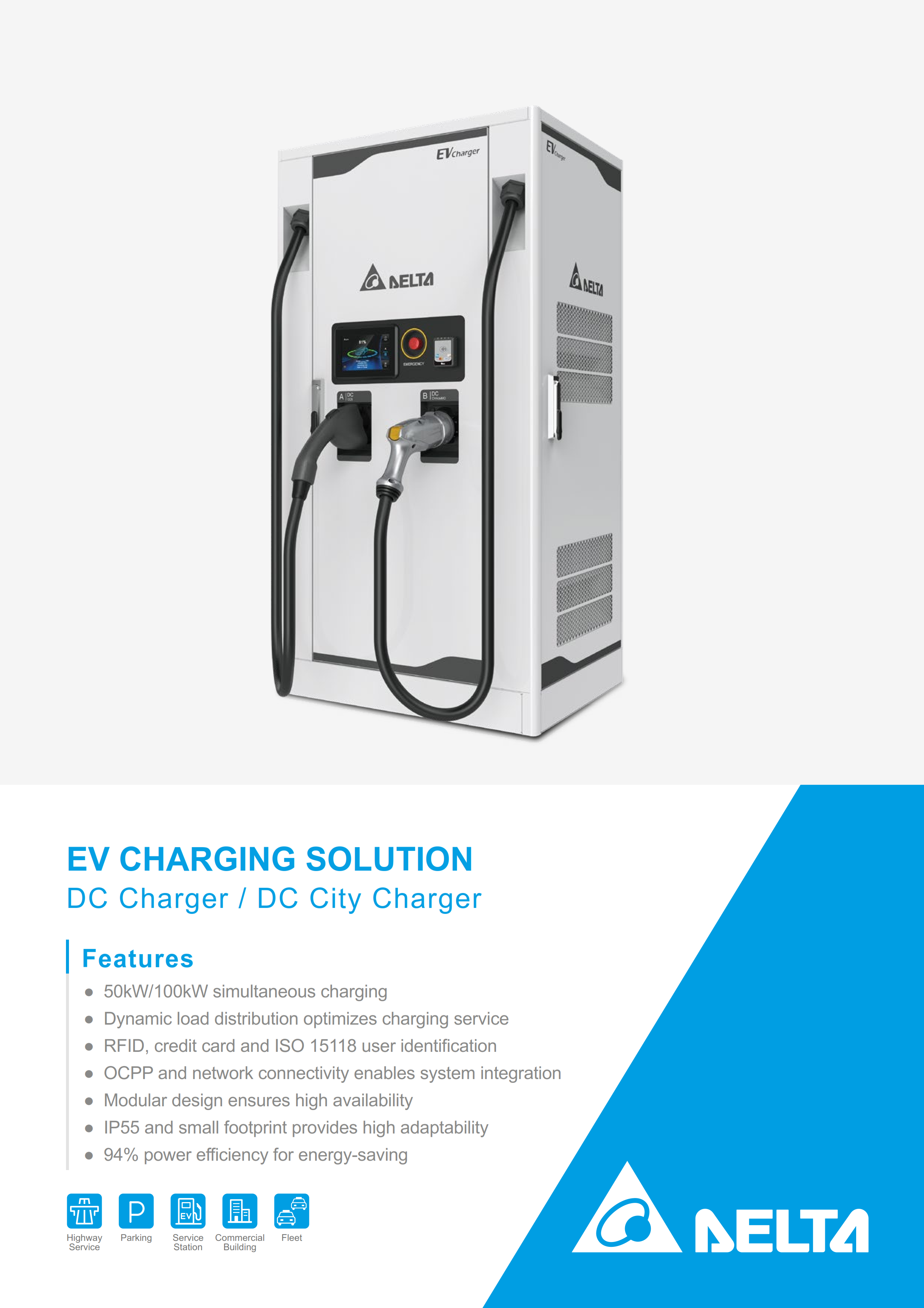 Delta DC charger, DC city charger 100KW Commercial EV charger