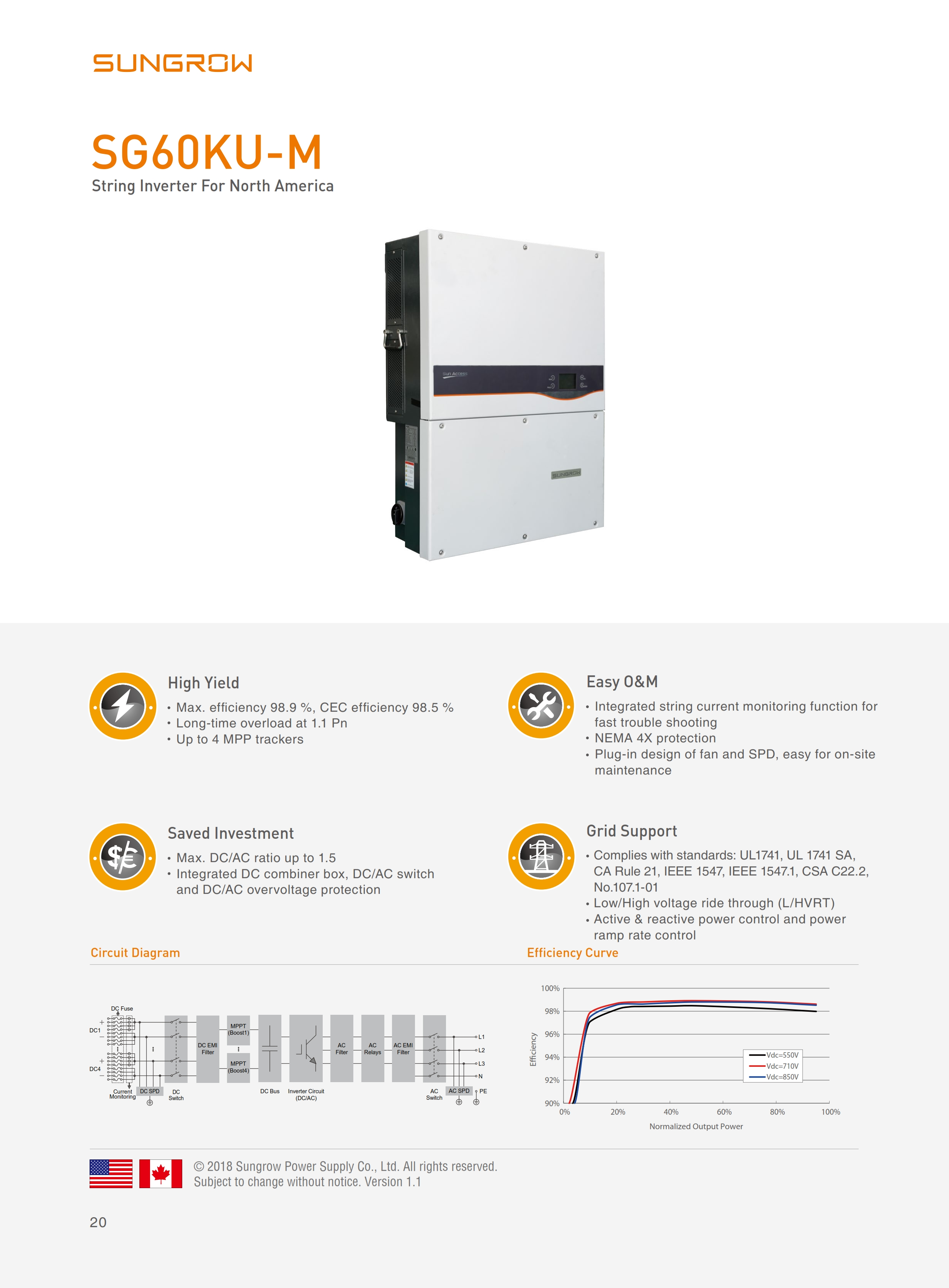 SUNGROW SG60KU-M 1000V system String Inverter